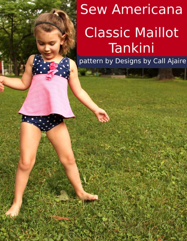 A swimsuit to celebrate the 4th of July - of course! Classic Maillot pattern by Designs by Call Ajaire #classicmaillot