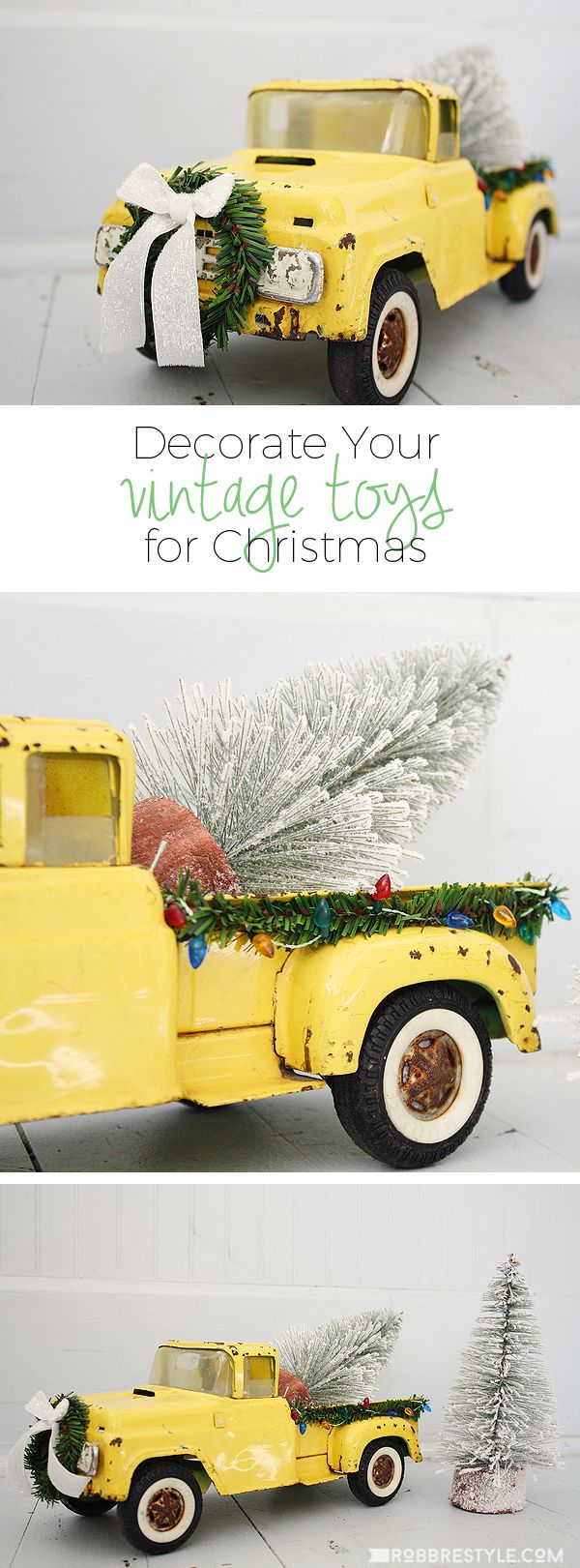 Decorate your vintage toys for your Christmas decor. Just add trees to the back and some holiday trimmings.