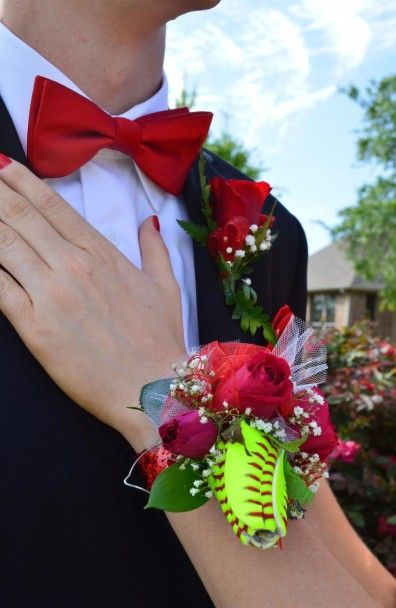 Hannah's Softball Rose Corsage For Senior Prom  Our daughter Hannah celebrated he Senior Prom with her Softball Rose as a part of her corsage given to her by her boyfriend. It was awesome!