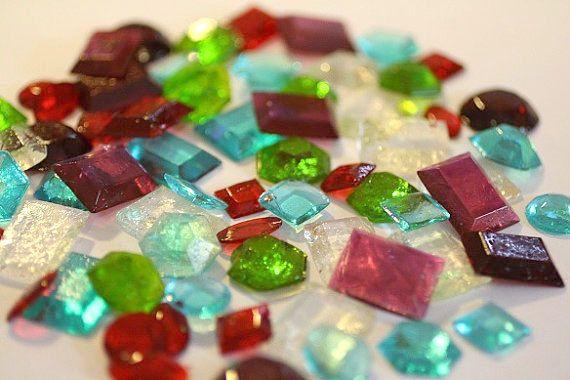 50 Sugar Jewels, Sugar Gems for cake decorating, assorted shapes. Edible jewels, isomalt jewels, cake supplies