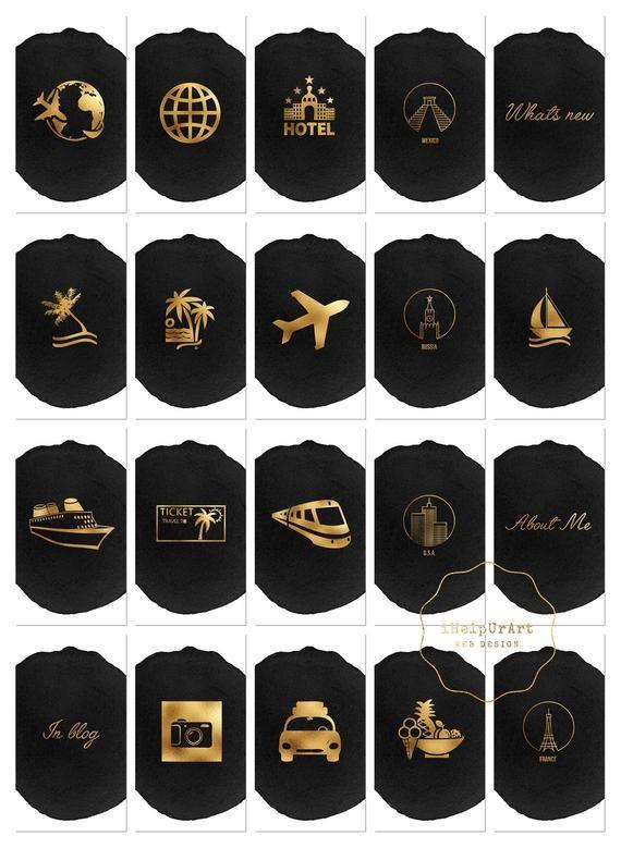Reisen Sie Instagram Geschichte Highlight Abdeckungen – Reise-Blogger-Icons – Instagram Geschichte Symbole – schwarz Aquarell und Gold – Blog Insta Reisebericht