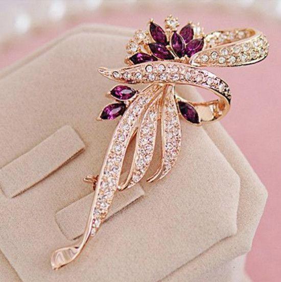 2016 Crystal Flower Brooch Lapel Pin Fashion  Rhinestone Jewelry Women Wedding Hijab Pins Large Brooches For Women H054 B10F0031