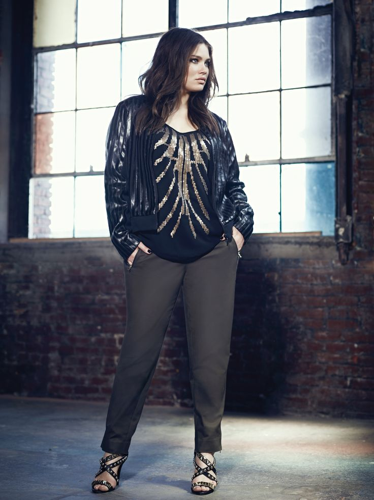 Addition Elle plus size faux leather bomber jacket with sequined front top and ankle pant with zipper details.