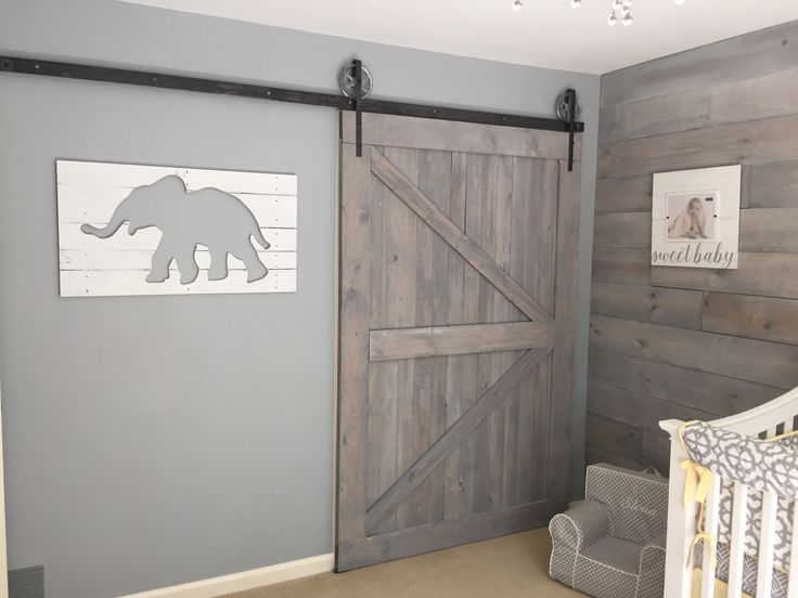 Shabby Chic Nursery Shiplap Barn Door Whitewash Gray