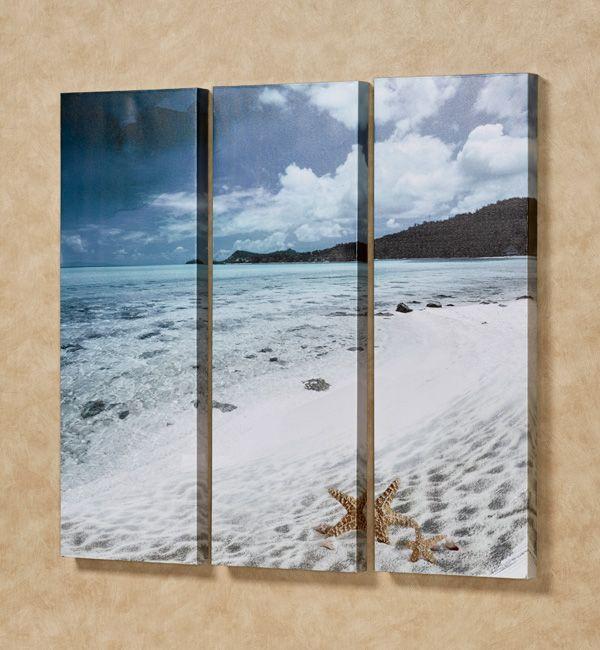 Paradise Beach Triptych Canvas Wall Art Set Canvas Wall Art Set Ocean Wall Art Triptych Canvas