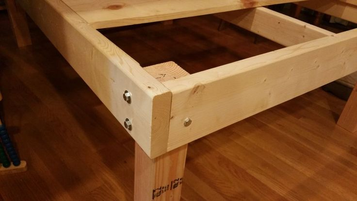 """DIY platform bed with approximately $60-$90 that definitely will last. Made with plywood, 2x6's, 4x4's, and castors (wheels). More pictures available at www.myplatformbed.com. You will need: Materials Needed: 3 - 2x6 Boards 10' feet long 1 - 4x4 Post 32"""" inches to 40"""" inches long 1- 2x4 Stud 12 - Hex Bolts 3/8 by 6"""" inches long 12 - Hex 3/8 Nuts 24 - Cut Washers for 3/8 Bolts 1 - 2x4 Stud framing support bracket (pictured) 8 - Screws; 1 1/2"""" inches Tools Needed: Carpenter Square Tape Measure…"""