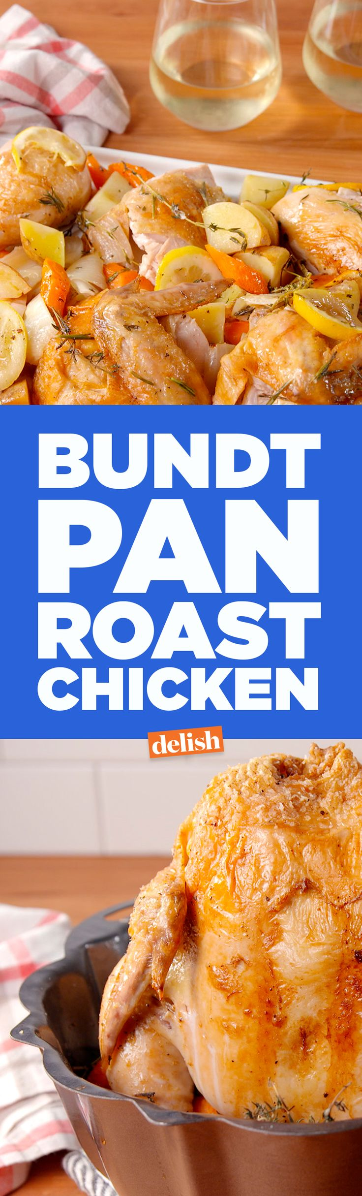 This Bundt Pan Roast Chicken is the most important cooking hack of all time. Get the recipe on Delish.com.
