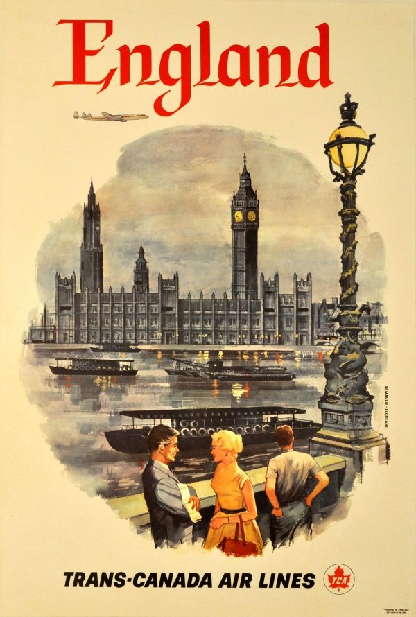 England by Trans-Canada Air Lines classic vintage travel poster