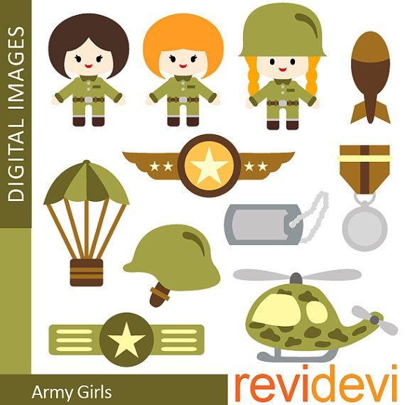 Army Girls Cliparts 07316 by revidevi on Etsy, $5.95