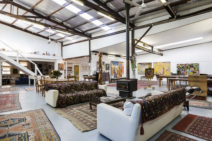 This rare and enormous warehouse home is set over two floors in the heart of Surry Hills. Featuring sprawling rooms and soaring ceilings it is a calm and creative mecca for the artistic soul. | 2 Esther Lane, Surry Hills #SurryHills #ArtStudio #ArtistStudio #Studio #Warehouse #Art