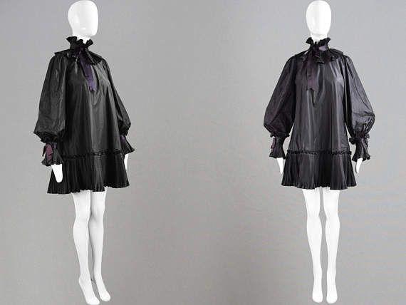Vintage 70s GINA FRATINI Black Silk Taffeta Mini Smock Dress