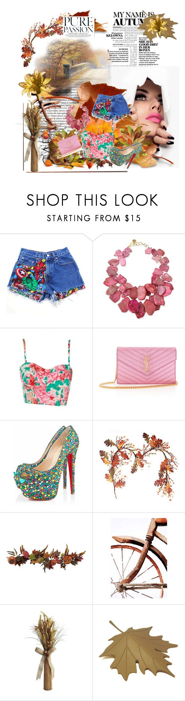 """""""PurePassion"""" by alessiia ❤ liked on Polyvore featuring ADAM, Levi's, NEST Jewelry, Yves Saint Laurent, Christian Louboutin, Nearly Natural, Pier 1 Imports and Qualy"""