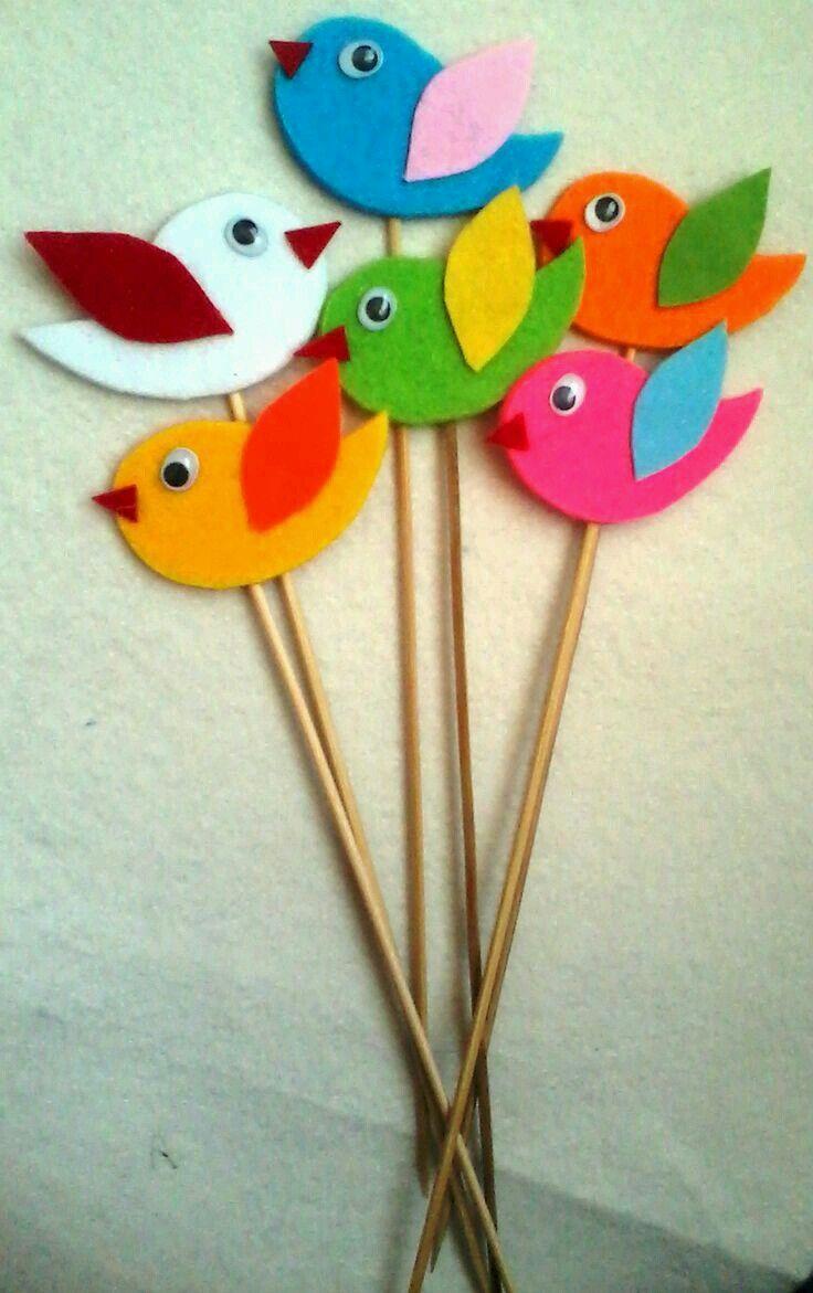 pássaros de feltro