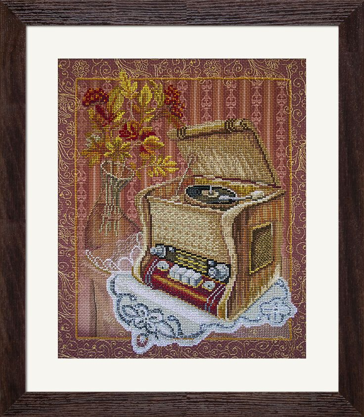 CP3178 Old gramophone. Cross stitch kits with canvas with printed