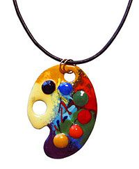 #Gift Ideas for #artists: Check out thie Enamel Palette Necklace from www.artistgifts.com. I would love to have this necklace - wouldn't you?! #art #painting