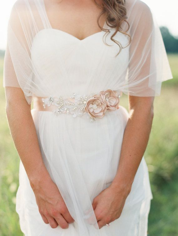 Bridal Gown Flower Sash Bridal Champagne Beaded by RomanticARTlife