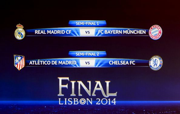 A television screen shows the results of the draw for the semi-finals of the football UEFA Champions League at the UEFA headquarters in Nyon on April 11, 2014. Titleholders Bayern Munich face nine-time winners Real Madrid while surprise packages Atletico Madrid will meet 2012 winners Chelsea in a tantalising Champions League semi-final draw made at UEFA headquarters in Nyon on Friday.