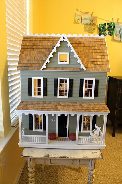 Beautiful DIY dollhouse kit from Hobby Lobby. i want to make chloe from scratch , but get room ideas from here, particularly the modern wallpaper look and contemporary parts