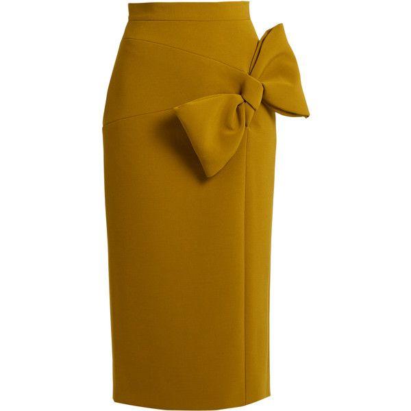 Roksanda Maida bow-detail midi skirt found on Polyvore featuring skirts, brown midi skirt, crepe skirt, slit skirt, brown skirt and mid calf skirts