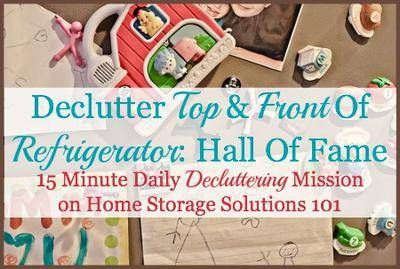 A simple and easy task is to declutter your refrigerator top and front. While it may not take too long it makes a huge impact on the look of your whole kitchen, as can be seen from these before and after pictures.