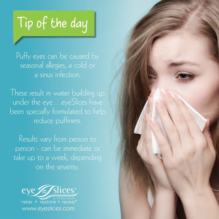 Tip of the day:  Puffy eyes can be caused by seasonal allergies, a cold or sinus infection.  These result in water building up under the eye …eyeSlices have been specially formulated to help reduce puffiness.