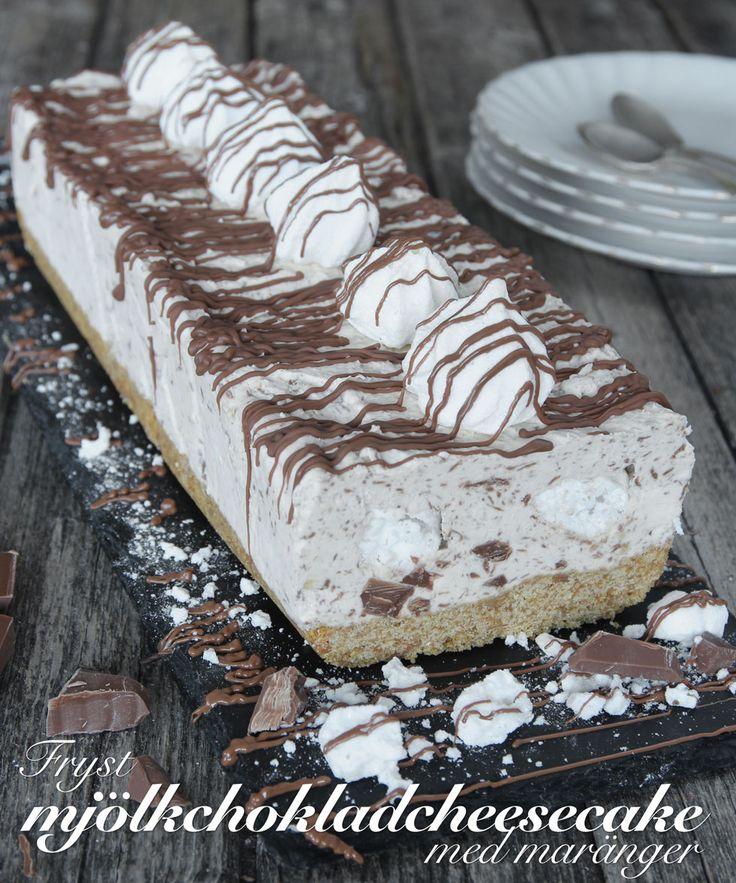 Fryst mjölkchoklad-cheesecake med maränger | Lindas bakskola