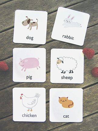 Printable animal flash cards. Print 2 sets and laminate - use for memory game to keep in my purse.