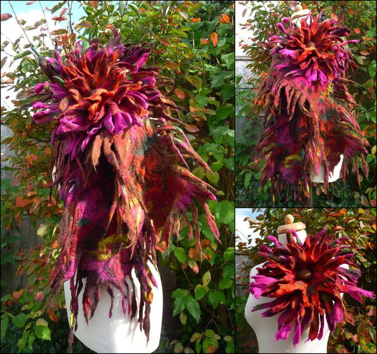 MADE TO ORDER felted scarf with flower brooch by FeltedArtToWear