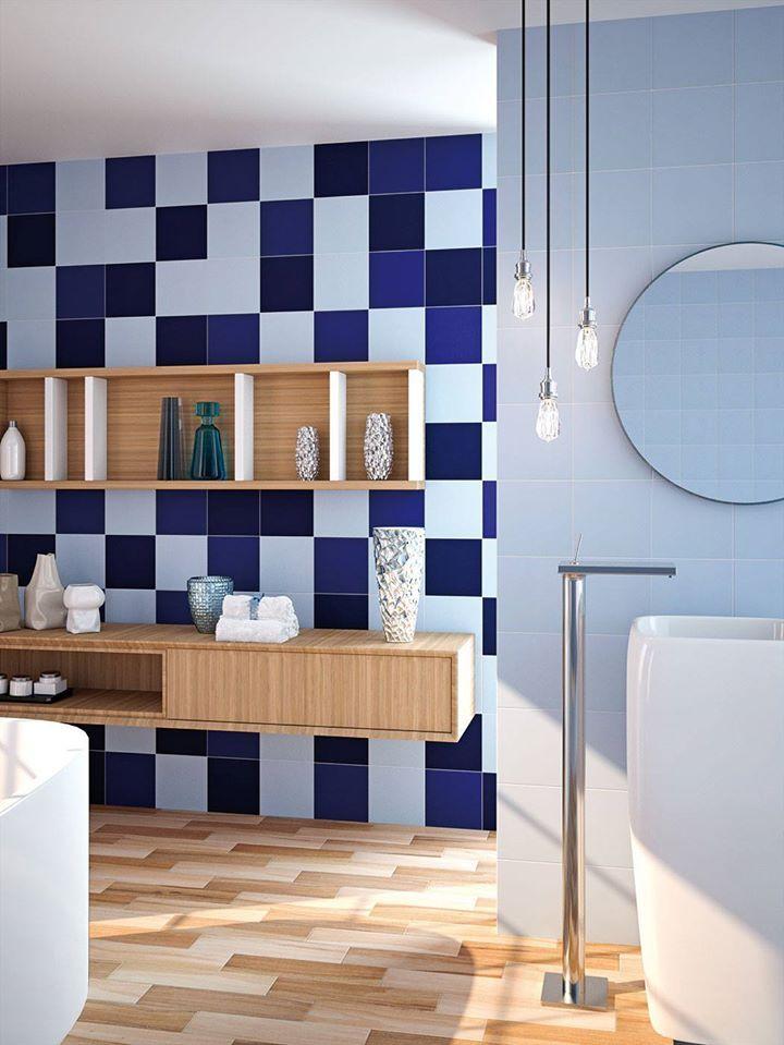#Baño diseñado con la serie #Carpio. El #azulejo cuadrado permite crear espacios originales y versátiles.