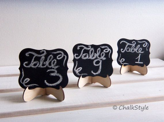 Set of 3 CHALKBOARDS Wedding Table Numbers  Wedding Table Decor, Mini Scroll Table Numbers, Gift Tags, Favor Tags on Etsy, $9.95