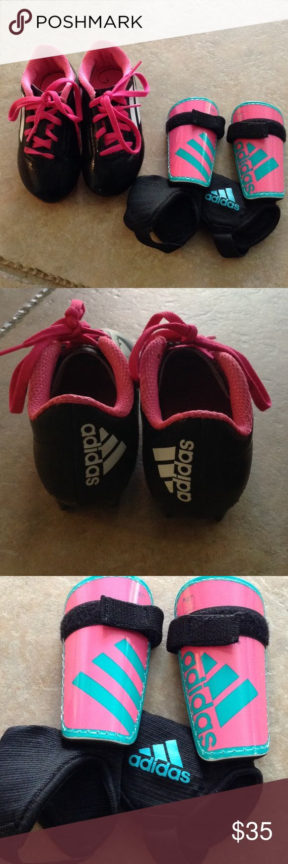 Little girls soccer cleats and shin guards ADIDAS Near perfect condition. Worn one season. Soccer cleats are a toddler size 10 and the cleats are a toddler small Adidas Shoes Sneakers