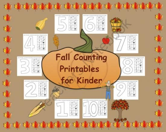Fall Counting Printables for Kinder from Teaching The Smart Way on TeachersNotebook.com (10 pages)
