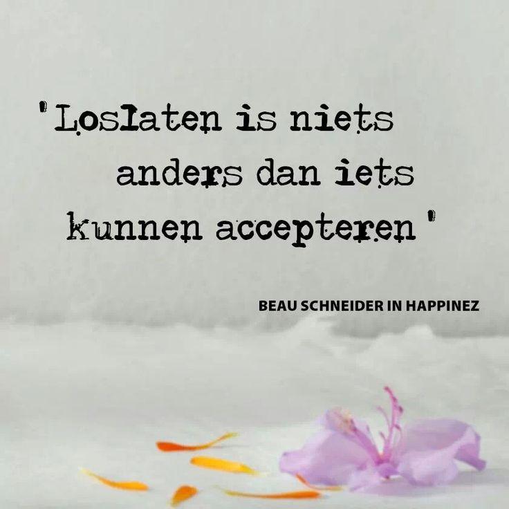'Loslaten is niets anders dan iets kunnen accepteren.' ~ Happinez