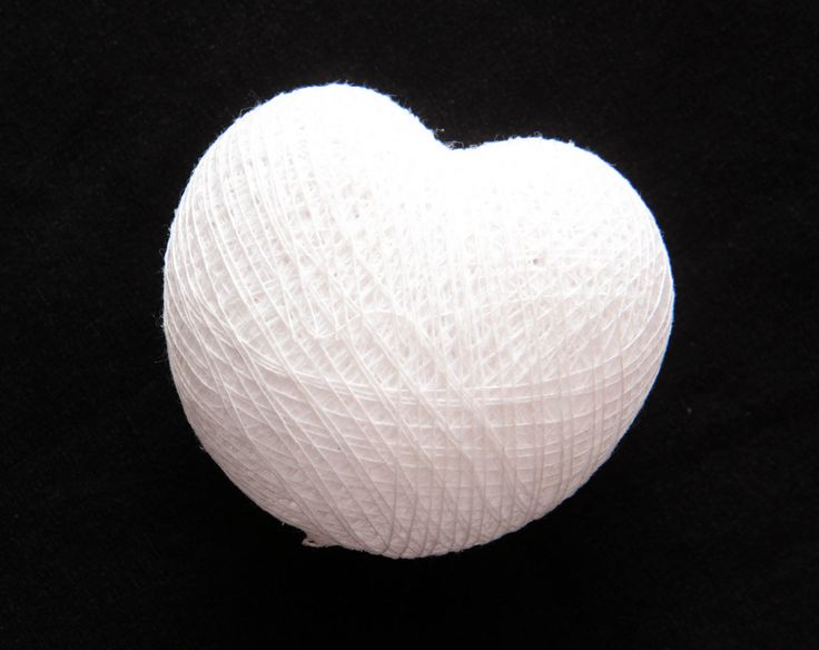 Brilliant White Cotton Ball String Light in Heart shape from Cotton Cable