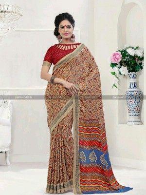 Beige N Maroon Pashmina Printed Casual Saree