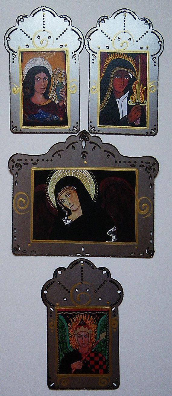 4 CATHOLIC ARCHANGELS, Raphael, Gabrielle, Uriel & Michael, 20% OFF, Plus Free Shipping Steel Icons, Christina Miller Artist