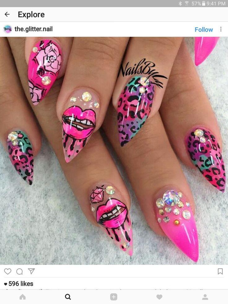 38 best lips kisses nail art ideas images on pinterest nail stiletto nail art nail nail dope nails art ideas hair beauty nailart nail designs kiss nails kisses prinsesfo Images