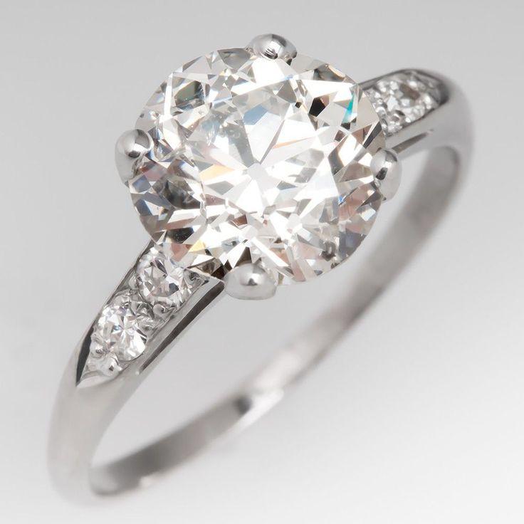 ANTIQUE ENGAGEMENT RING 1930'S 2.7 CARAT OLD EURO CUT DIAMOND