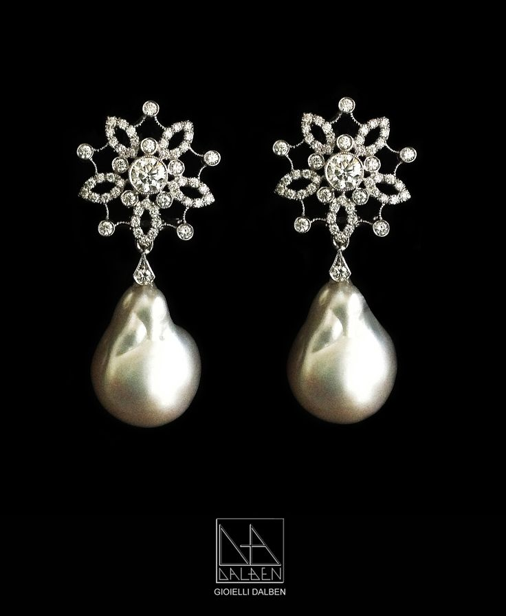 EARRINGS australian pearls , diamonds , white gold - GIOIELLI DALBEN - italian fine jewelry