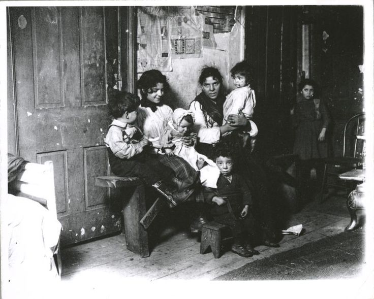 Italian family in Chicago tenement, c.1910; NYPL Digital Gallery