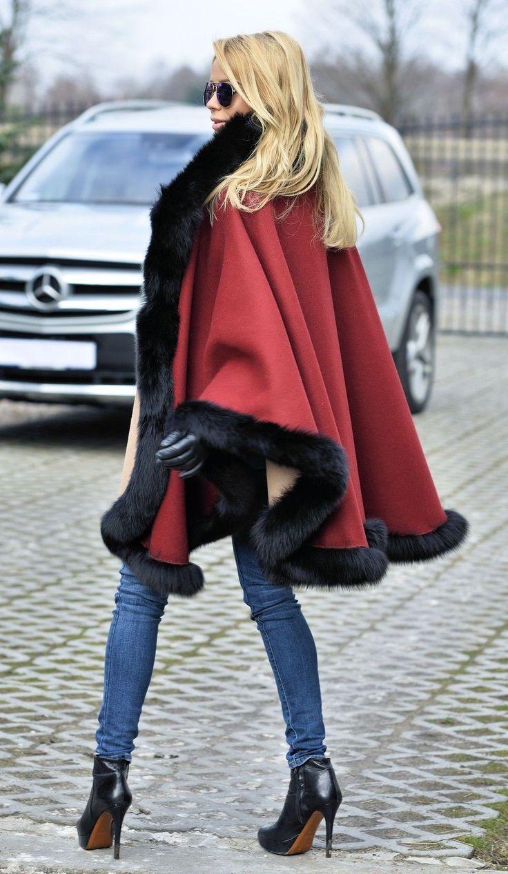 Reversible Black Fox Fur Poncho Class of Sable Mink Chinchilla Coat Jacket Cape | eBay