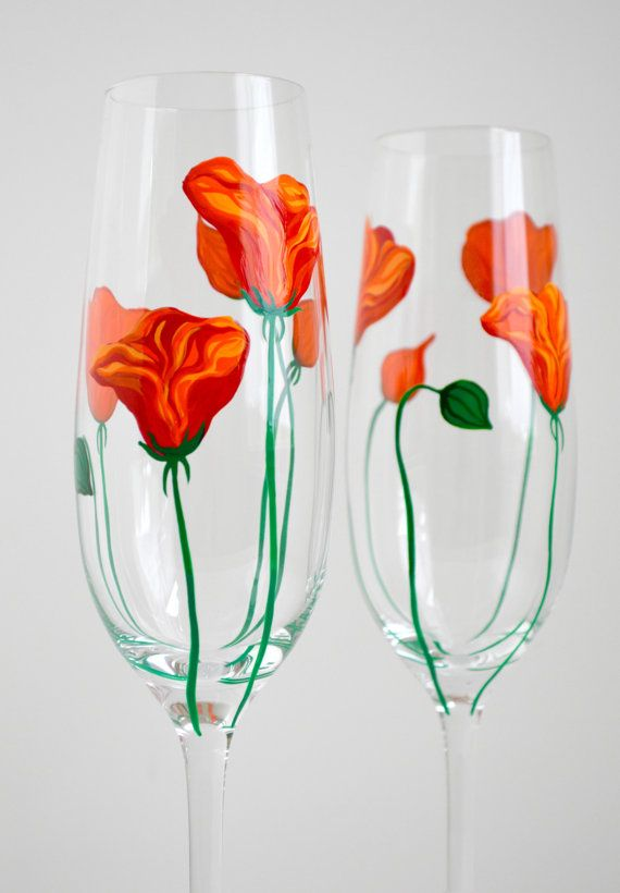 California Poppy Champagne Flutes  Hand Painted and Personalized by MaryElizabethArts.com