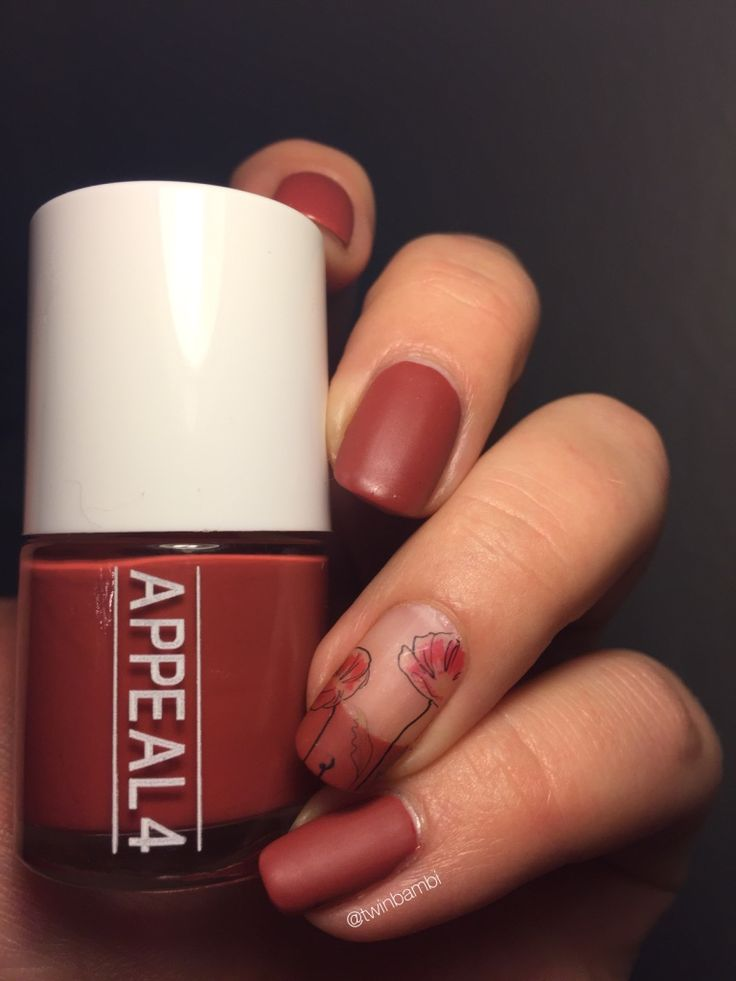@appeal4 Rusted Redbud Matt top coat from Appeal4  Polish from LuxBeauty.dk Water decal from @Born Pretty Store