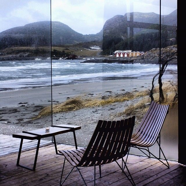 Coast, sea, window, interiors, Stokkøya, Strandbaren, Norway