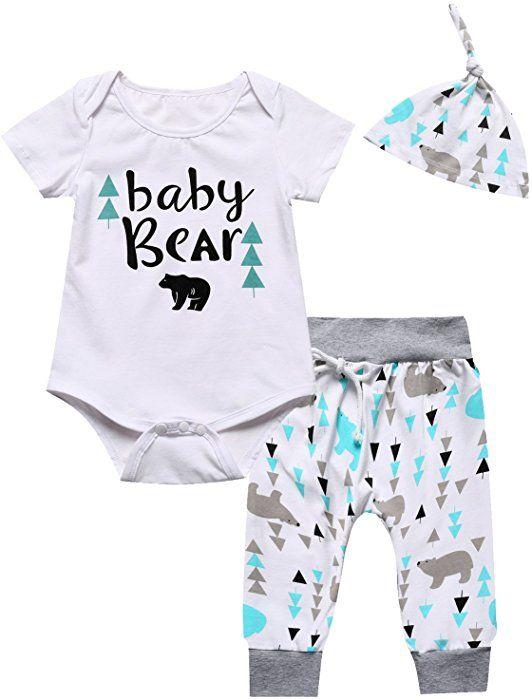 fa7505656ec8 Amazon.com  Baby Boys Girls Outfit Set Cute Deer Long Sleeve Romper ...
