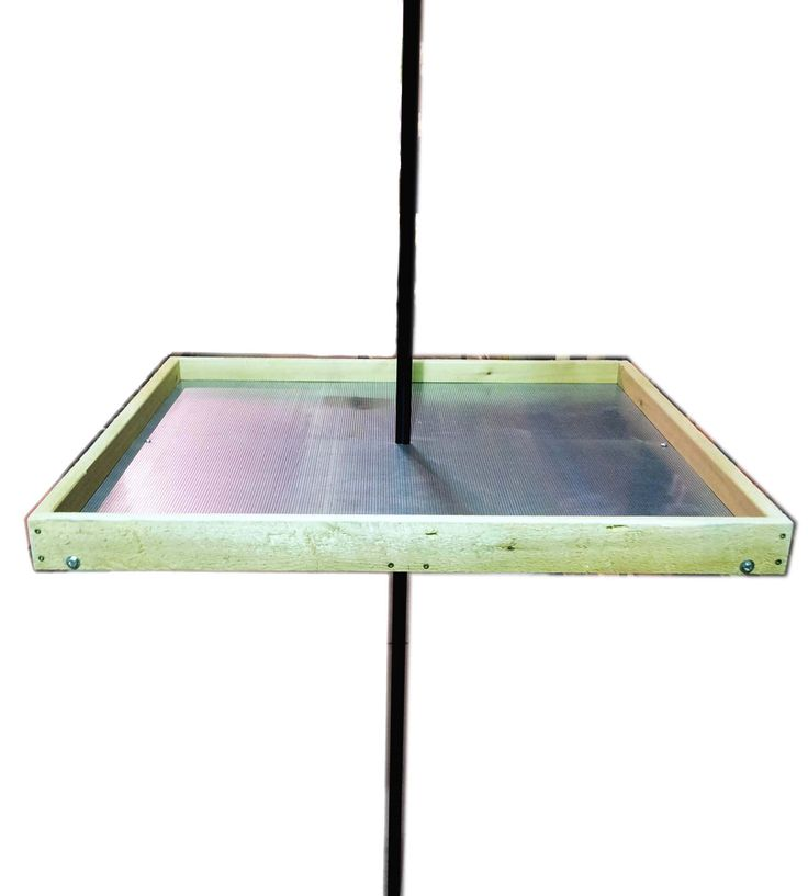 """TRAYXL   This super tray is 32"""" square.  It can be mounted on a 1"""" diameter pole (Erva FPTNH required and sold separately) or it can be used as a ground feeder. The legs are included and fold under when used as a pole tray. Made with Canadian white cedar.  32"""" x 32"""" x 2 ¾""""  Made in Canada"""
