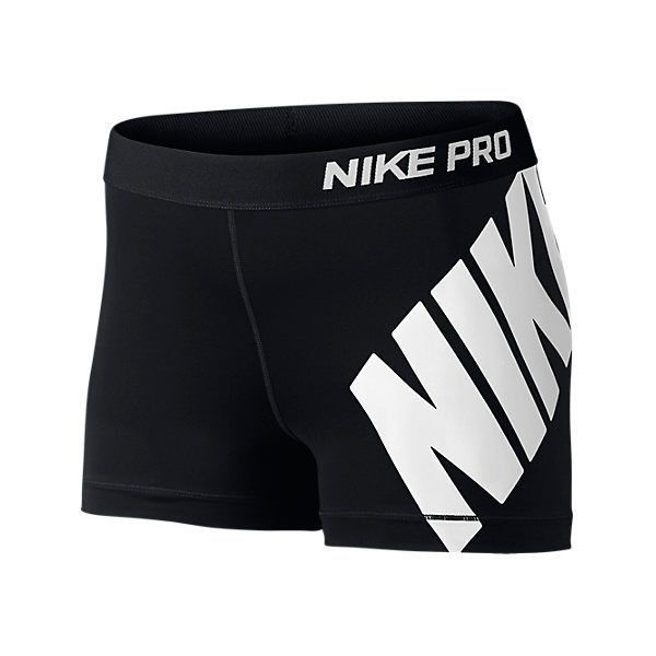 Nike Women's Pro Logo 3 Inch Shorts, Black ($15) ❤ liked on Polyvore featuring activewear, activewear shorts, black, nike sportswear, nike activewear, nike and logo sportswear