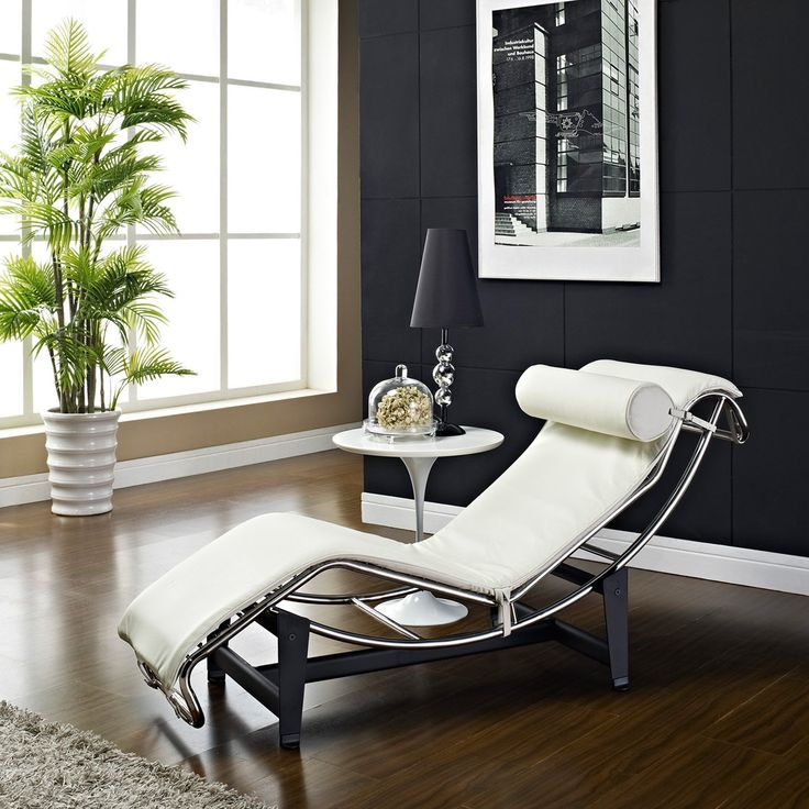 Le Corbusier Style White Genuine Leather Chaise Lounge