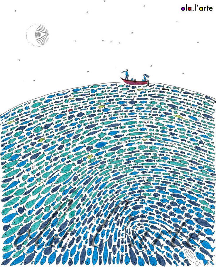 La petite famille est partie en croisière de nuit à la recherche d'un petit poisson rouge. La nuit est chaude, la mer est calme, la lumière de la lune est douce... A ACHETER (120€). dessin à l'encre de chine, papier 250g/m2, 24x30cm, cadre bois noir,...