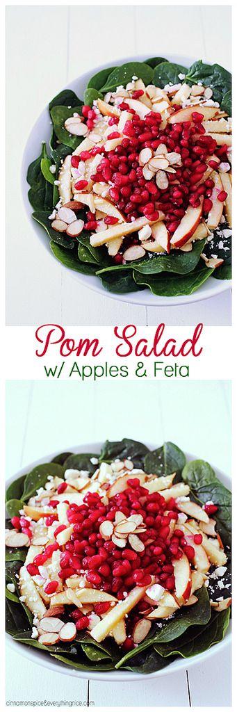 Pomegranate, Apple & Feta Spinach Salad